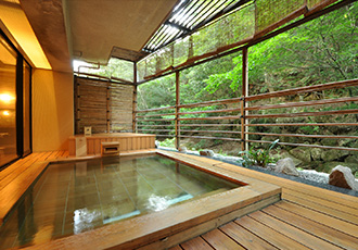 rare hot spring on Miyajima island